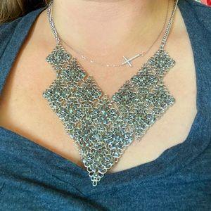 Charming Charlie 70's bib sparkle style necklace